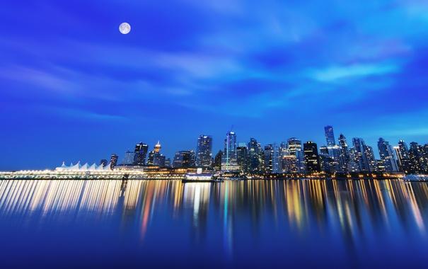 Фото обои ночь, луна, Город