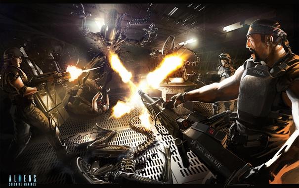 Фото обои десант, art, Aliens, морпехи, Aliens Colonial Marines, Чужие: Колониальные морпехи, Gearbox Software