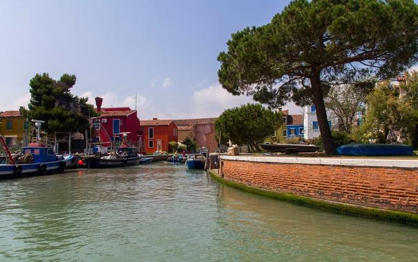 Фото обои небо, деревья, лодка, дома, Италия, Венеция, канал