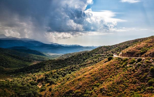 Фото обои дорога, небо, облака, горы, Франция, долина, Corsica