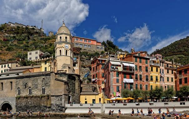 Фото обои скалы, башня, дома, Италия, Вернацца, Чинкве-Терре, Лигурийское побережье