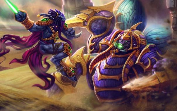Фото обои песок, пустыня, бой, starcraft, Warcraft, Zeratul, Heroes of the Storm
