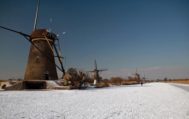 Фото обои лед, зима, небо, канал, ветряная мельница