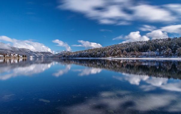 Фото обои деревья, горы, озеро, дом, Германия, Бавария