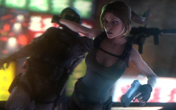 Фото обои взгляд, девушка, лицо, пистолет, оружие, lara croft, tomb raider