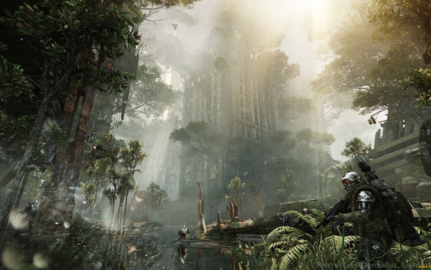 Фото обои джунгли, солдаты, развалины, нью-йорк, cell, crysis 3