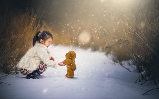 Фото обои снег, мишка, девочка