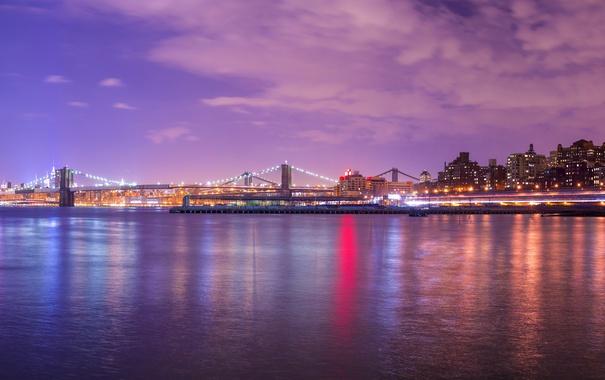 Фото обои вода, ночь, город, lights, огни, небоскрёбы, panorama