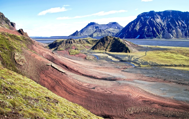Фото обои горы, поток, Исландия, красочные камни