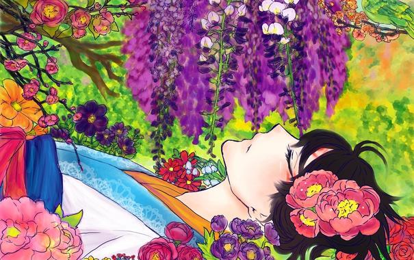 Фото обои девушка, цветы, птица, арт, лежит, Аниме, кимоно