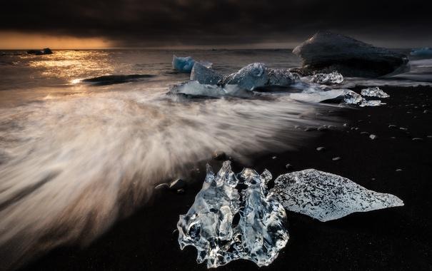 Фото обои море, пляж, тучи, льдины, Исландия