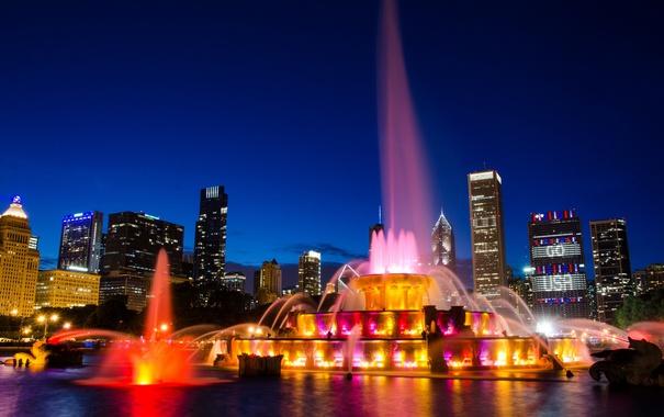 Фото обои город, сияние, ночные огни, фонтан
