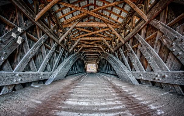 Фото обои город, мост, дорога