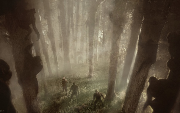 Фото обои лес, война, солдаты, обезьяны, Цезарь, Caesar, Планета обезьян: Революция