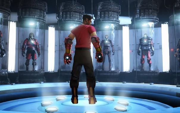 Фото обои robot, Valve, Team Fortress 2, bot, iron man, fan art, scout