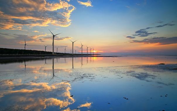 Фото обои небо, облака, закат, отражение, ветряная мельница