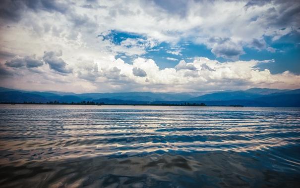 Фото обои небо, вода, холмы, the Ripple