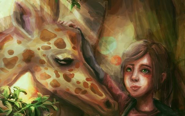 Фото обои арт, жираф, девочка, Элли, ellie art, last of us
