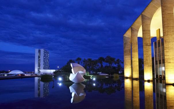 Фото обои ночь, огни, площадь, Бразилия