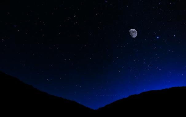 Фото обои небо, звезды, ночь, луна