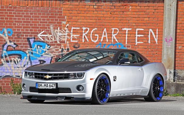 Фото обои Chevrolet, авто, Camaro, кирпичная стена, тюнинг, граффити