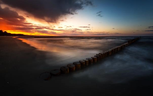 Фото обои закат, берег, море
