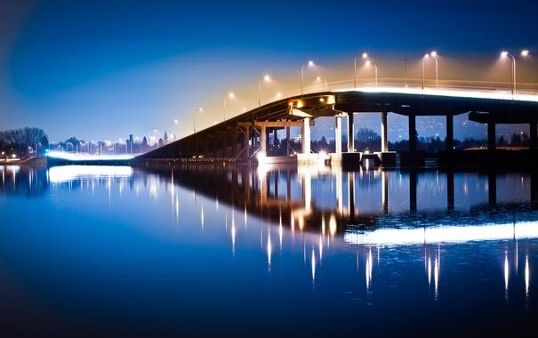 Фото обои вода, ночь, мост, огни, отражение, река, фонари