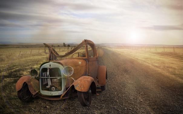 Фото обои дорога, машина, лом