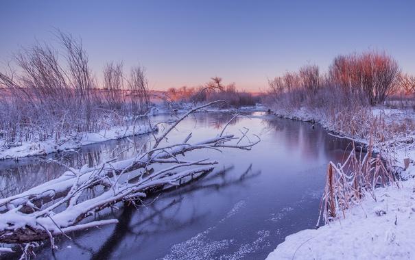 Фото обои зима, река, закат