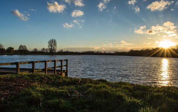 Фото обои солнце, озеро, Небо