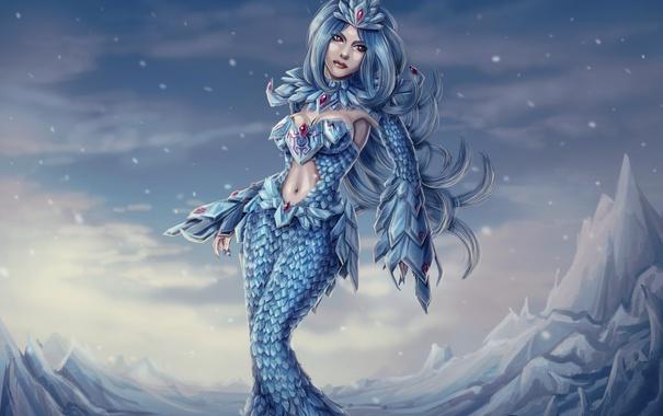 Фото обои холод, девушка, человек, арт, кристаллы, league of legends, Anivia