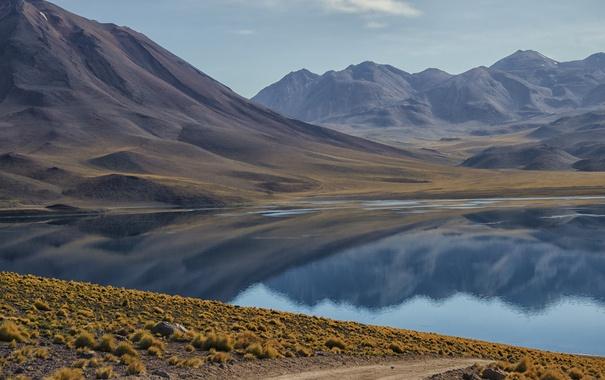Фото обои отражение, Горы, берег, мох, песок, озеро, вода