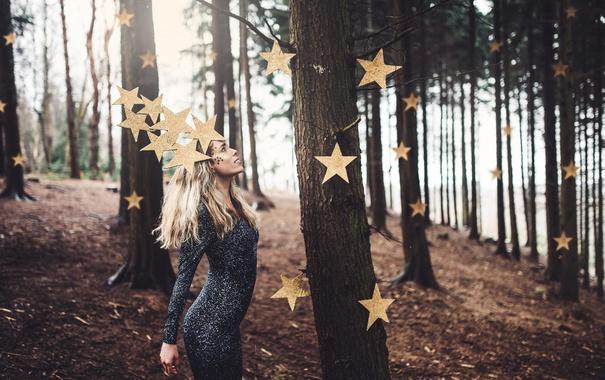 Фото обои лес, девушка, звёзды