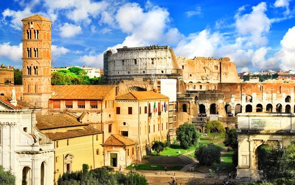 Фото обои дома, Рим, Италия, развалины, архитектура, амфитеатр, Ancient Rome