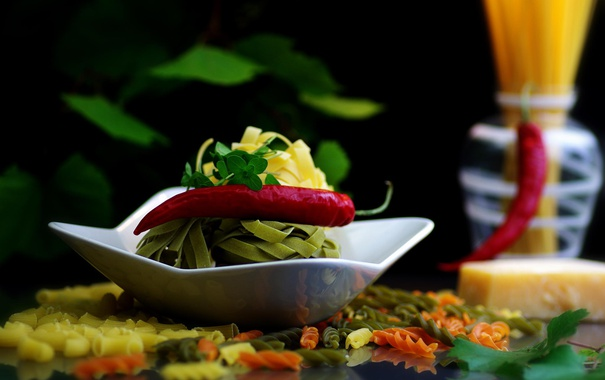Фото обои перец, овощи, макароны, паста