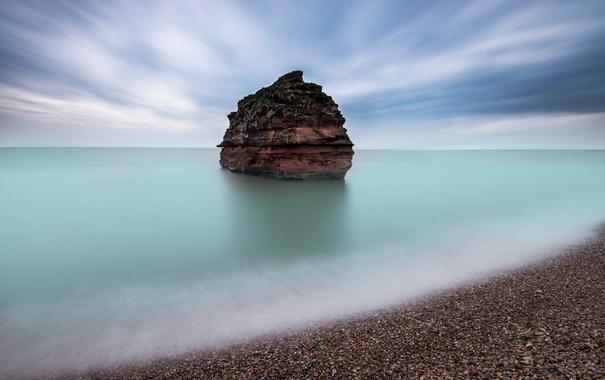 Фото обои море, небо, скала, берег, остров