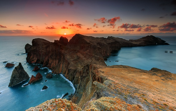 Фото обои море, небо, закат, скалы, мыс