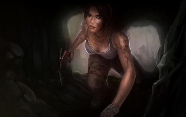 Фото обои взгляд, девушка, лицо, арт, Tomb Raider, art, Lara Croft