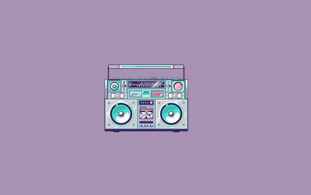 Фото обои минимализм, cassette recorder, магнитофон, светлый фон, кассетный