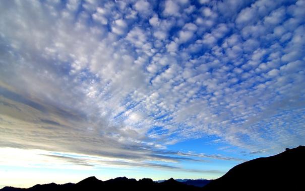 Фото обои небо, облака, горы, горизонт