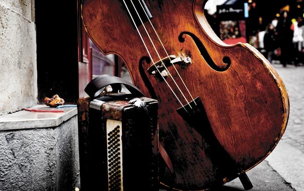 Фото обои музыка, улица, иструменты