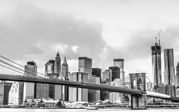 Фото обои мост, город, дома, NYC, Manhattan Bridge
