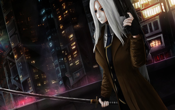 Фото обои девушка, ночь, город, оружие, меч, катана