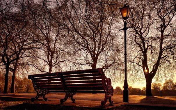 Фото обои город, светильник, скамья