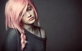 Картинка волосы, коса, девушка, розовые