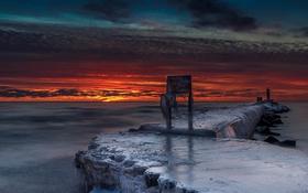 Картинка море, ночь, лёд, пирс