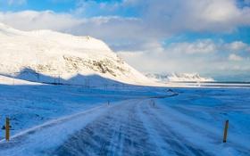 Картинка зима, снег, горы, природа, дорога, облака