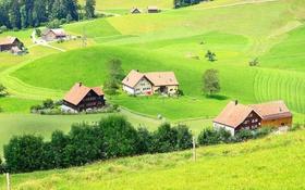 Картинка зелень, трава, деревья, поля, Швейцария, домики, Trogen
