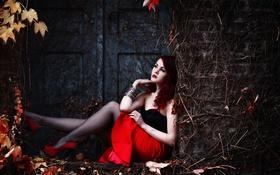 Картинка девушка, фон, листья