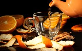 Обои чай, апельсины, чаша, корица